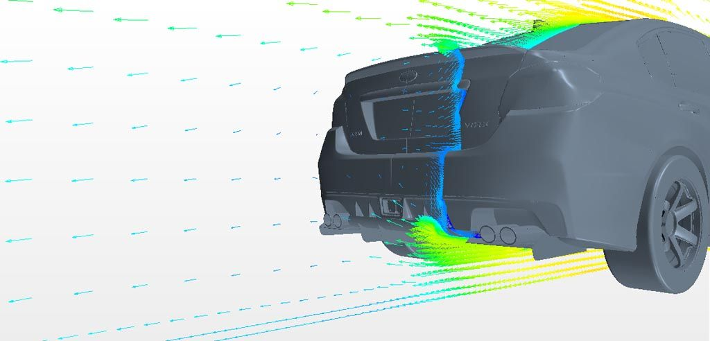 Verus Engineering Subaru WRX/STI Rear Diffuser CFD Vector Plot